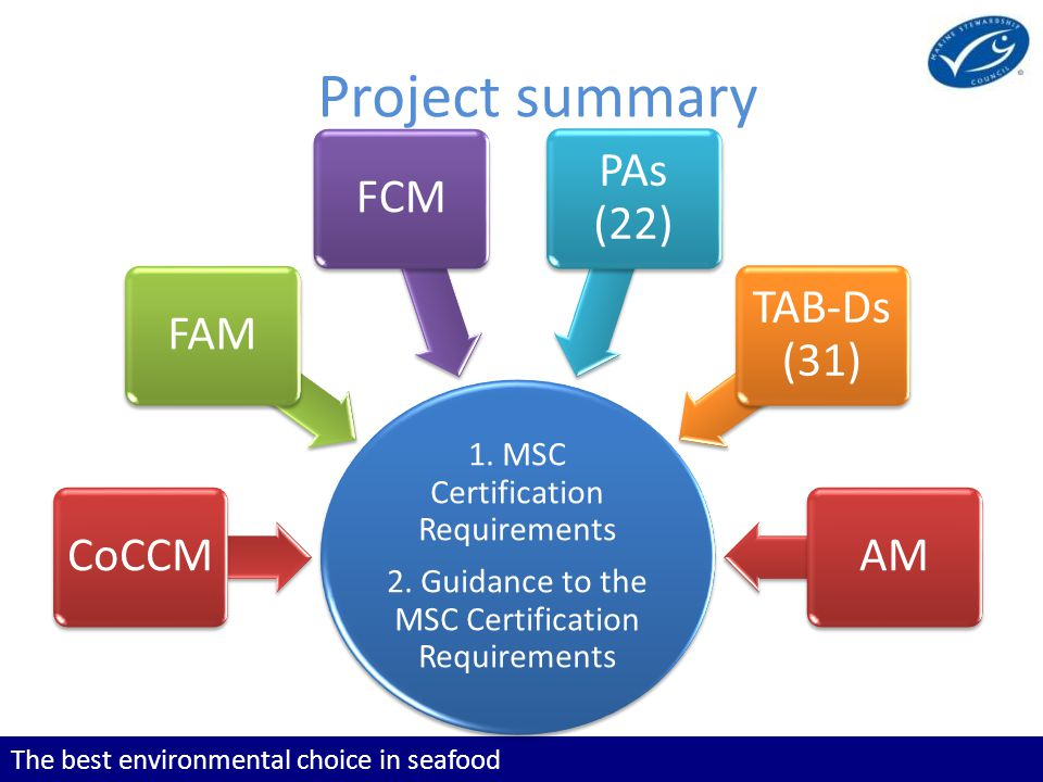 The best environmental choice in seafood Project summary 1. MSC Certification Requirements 2. Guidance to the MSC Certification Requirements 1. MSC Ce