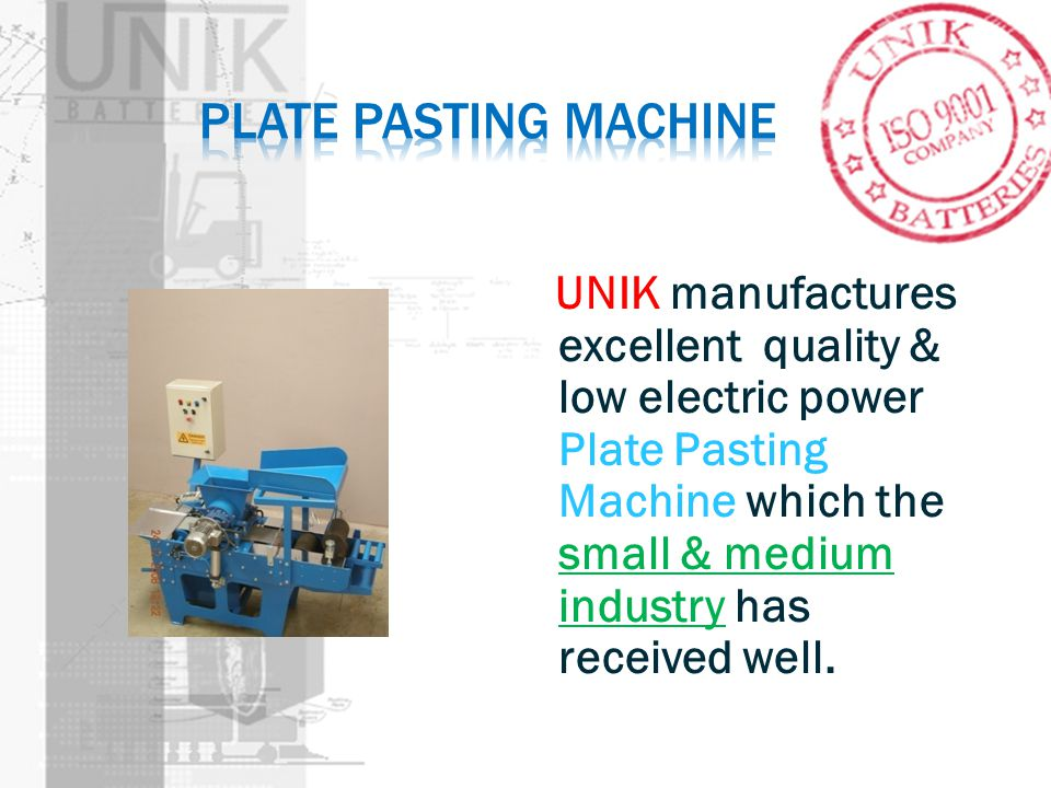 UNIK manufactures excellent quality & low electric power Plate Pasting Machine which the small & medium industry has received well.