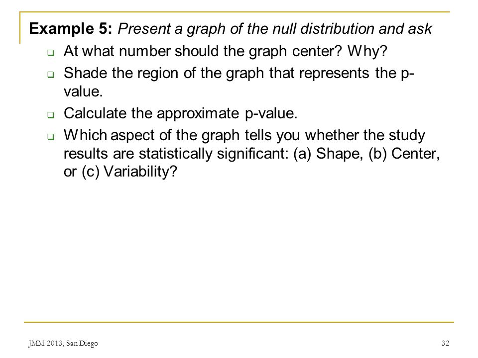 Example 5: Present a graph of the null distribution and ask At what number should the graph center? Why? Shade the region of the graph that represents
