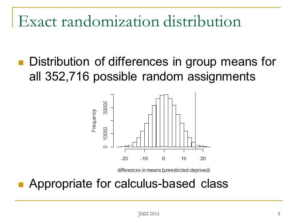 Exact randomization distribution Distribution of differences in group means for all 352,716 possible random assignments Appropriate for calculus-based
