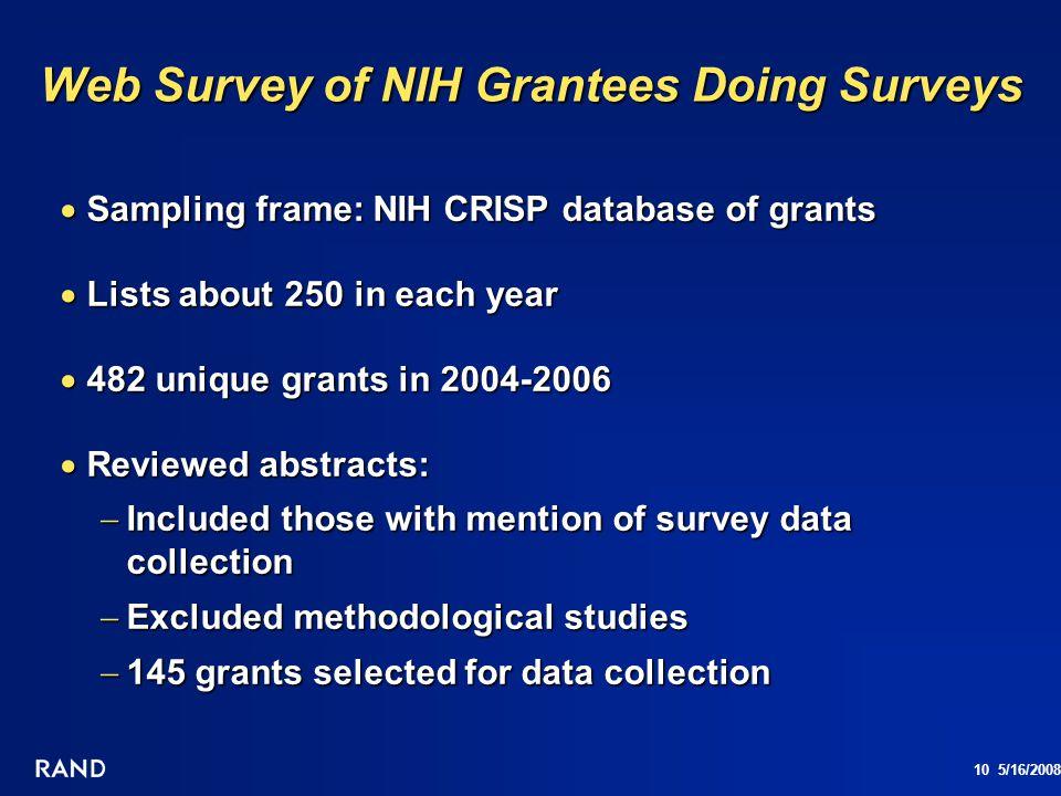 10 5/16/2008 Web Survey of NIH Grantees Doing Surveys Sampling frame: NIH CRISP database of grants Sampling frame: NIH CRISP database of grants Lists