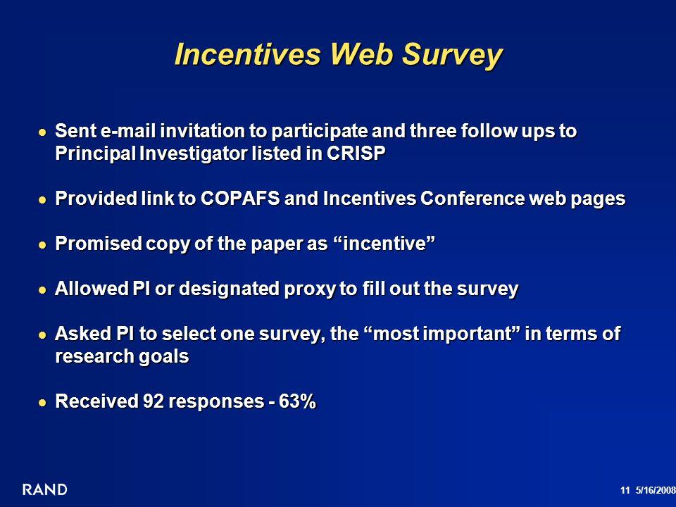 11 5/16/2008 Incentives Web Survey Sent e-mail invitation to participate and three follow ups to Principal Investigator listed in CRISP Sent e-mail in