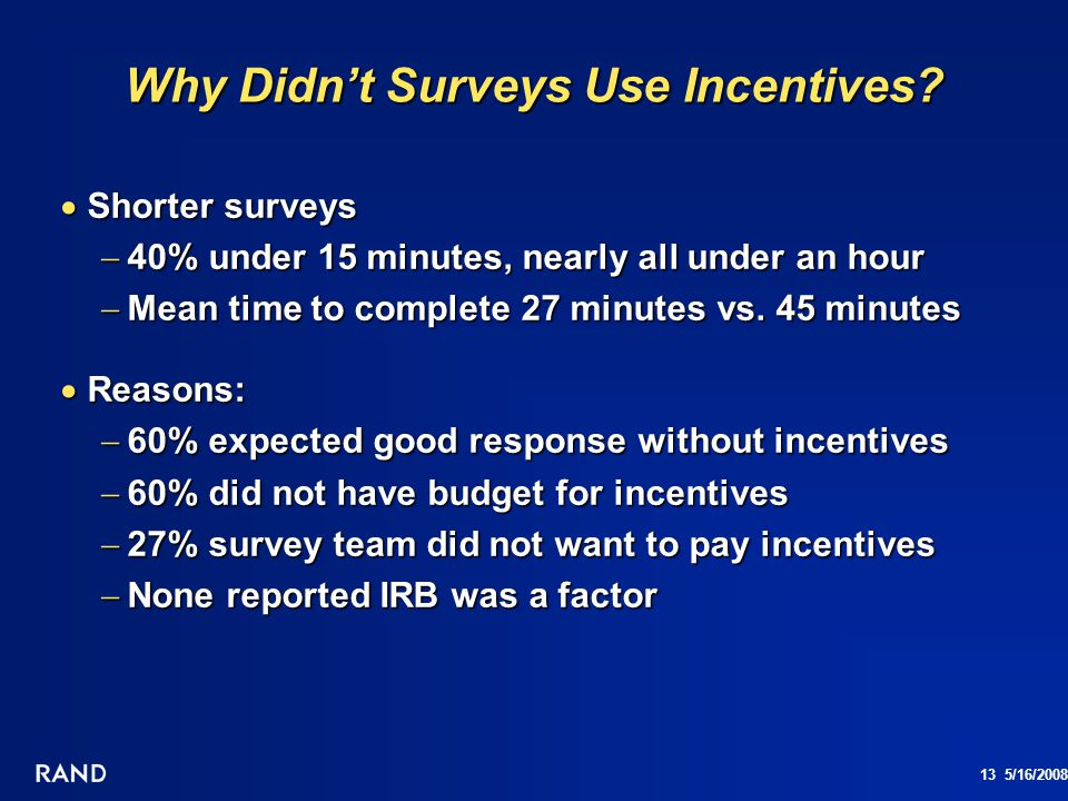 13 5/16/2008 Why Didnt Surveys Use Incentives? Shorter surveys Shorter surveys 40% under 15 minutes, nearly all under an hour 40% under 15 minutes, ne