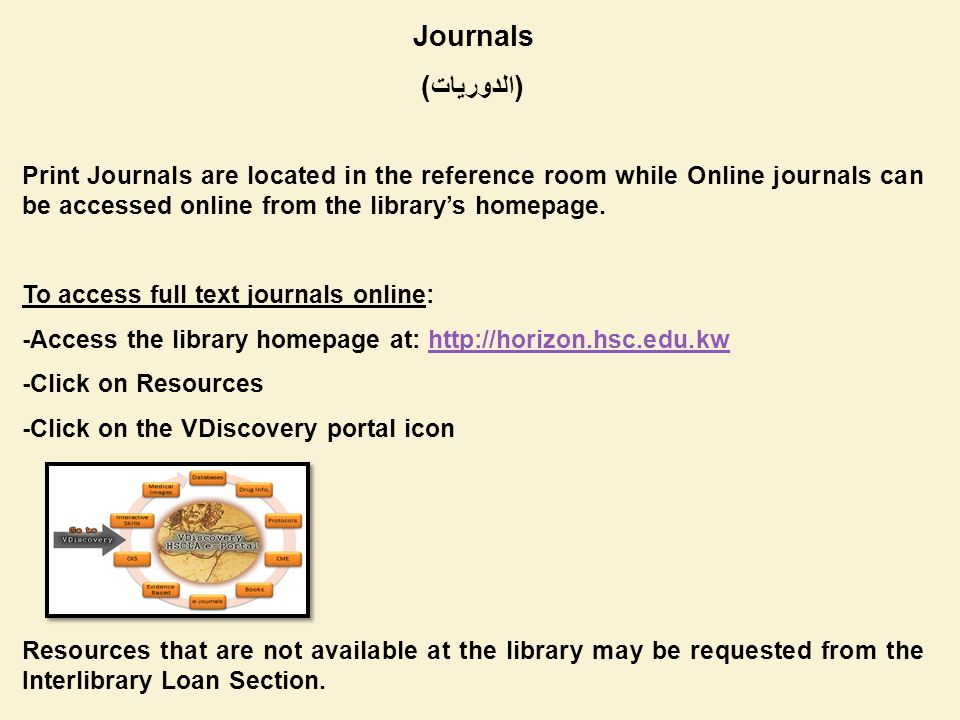 Journals (الدوريات) Print Journals are located in the reference room while Online journals can be accessed online from the librarys homepage.