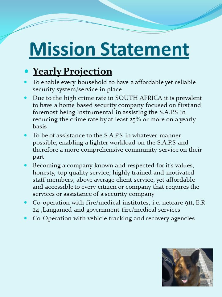 Mission Statement Yearly Projection To enable every household to have a affordable yet reliable security system/service in place Due to the high crime