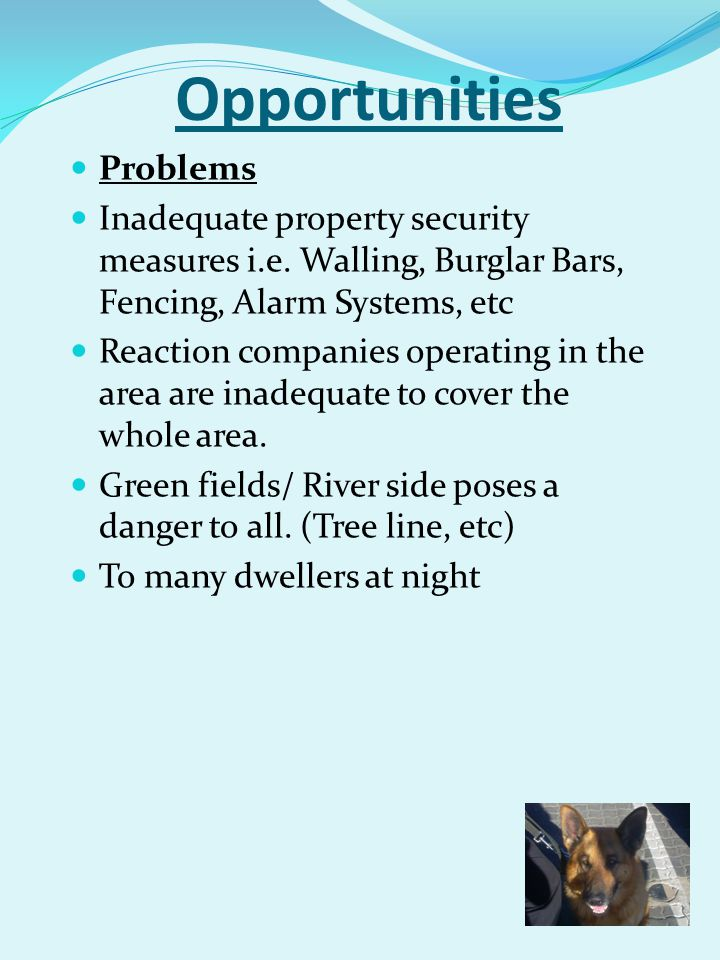 Opportunities Problems Inadequate property security measures i.e. Walling, Burglar Bars, Fencing, Alarm Systems, etc Reaction companies operating in t
