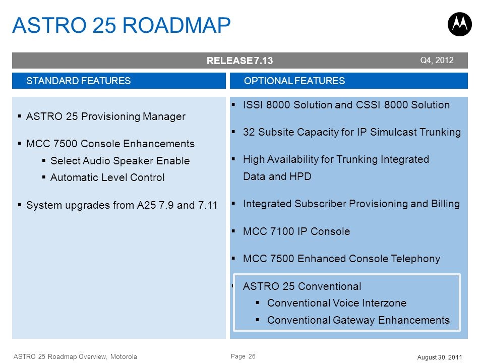 Page 26 ASTRO 25 Roadmap Overview, Motorola August 30, 2011 STANDARD FEATURES ASTRO 25 Provisioning Manager MCC 7500 Console Enhancements Select Audio