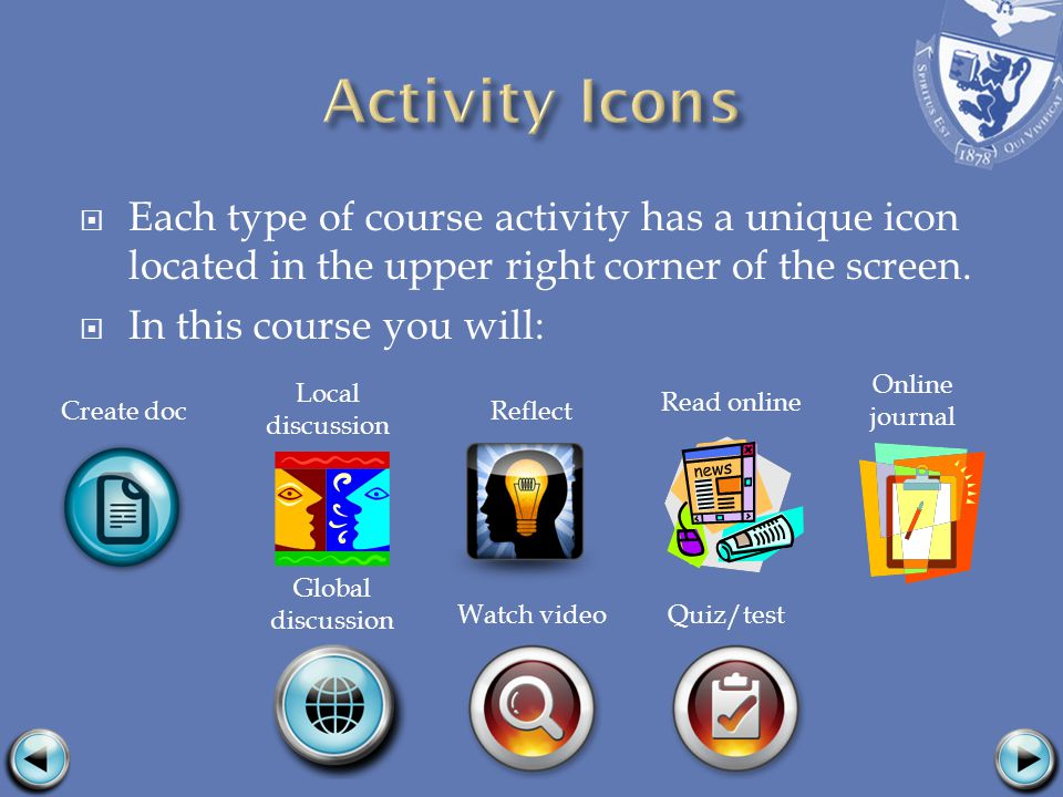Each type of course activity has a unique icon located in the upper right corner of the screen.