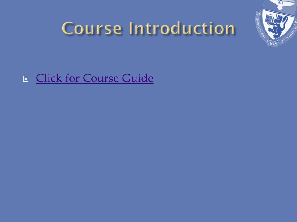Click for Course Guide