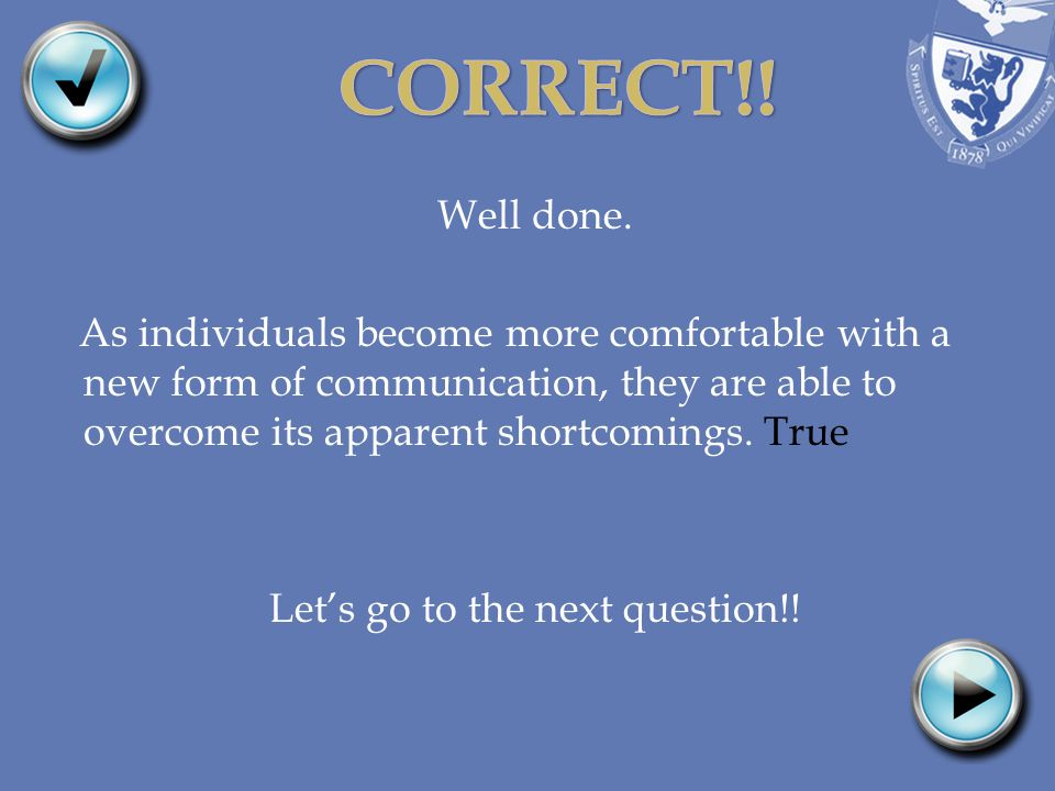 Well done. As individuals become more comfortable with a new form of communication, they are able to overcome its apparent shortcomings. True Lets go