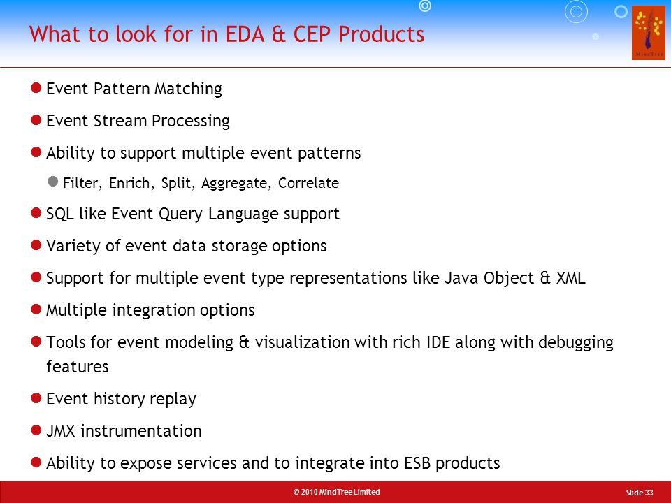© 2010 MindTree Limited Event Pattern Matching Event Stream Processing Ability to support multiple event patterns Filter, Enrich, Split, Aggregate, Co