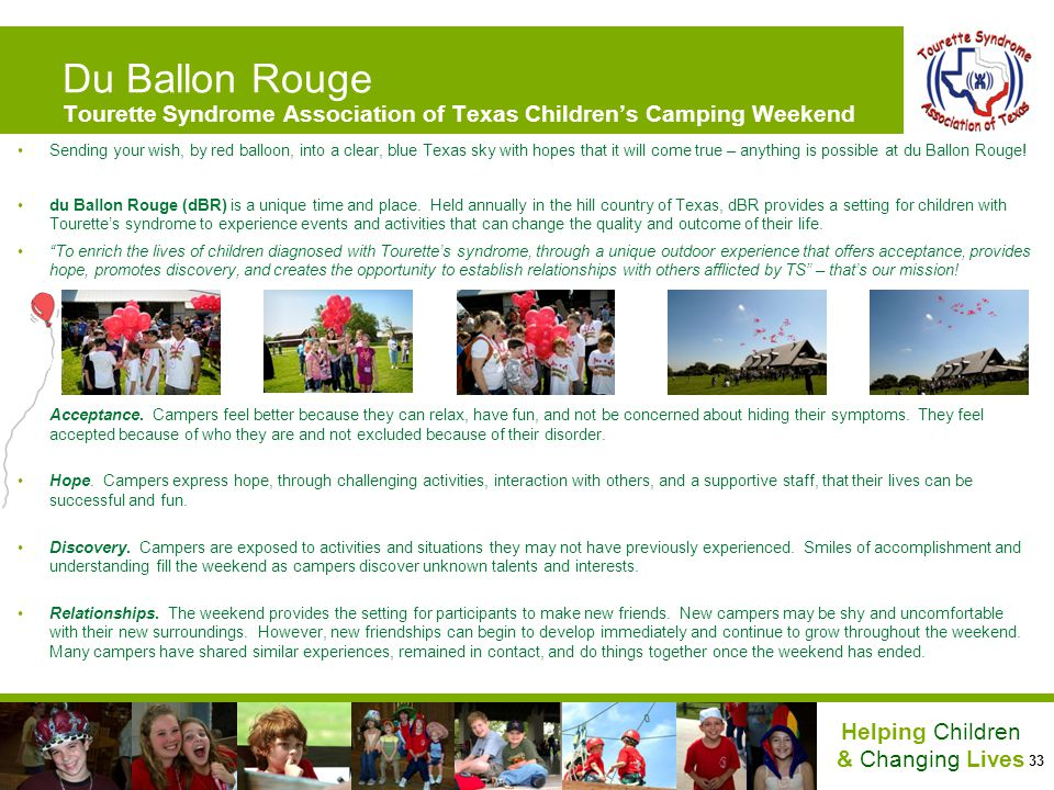 33 Helping Children & Changing Lives Du Ballon Rouge Tourette Syndrome Association of Texas Childrens Camping Weekend Sending your wish, by red balloo