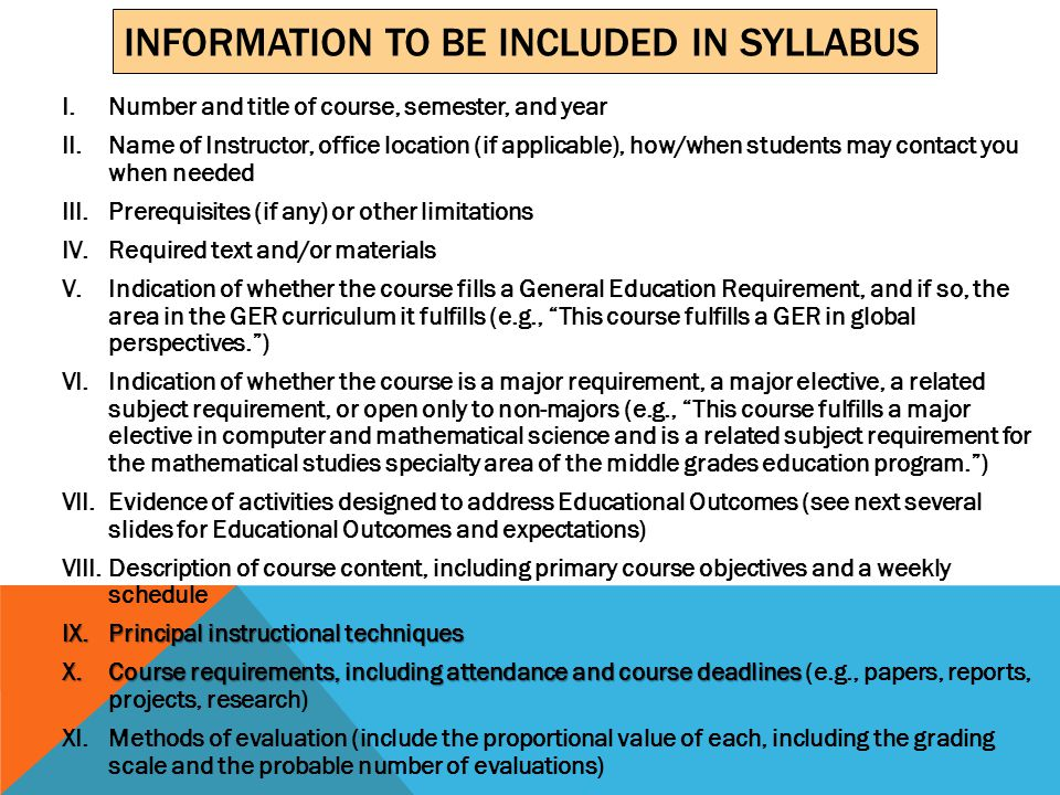 Please send a copy of every syllabus electronically to Sr.
