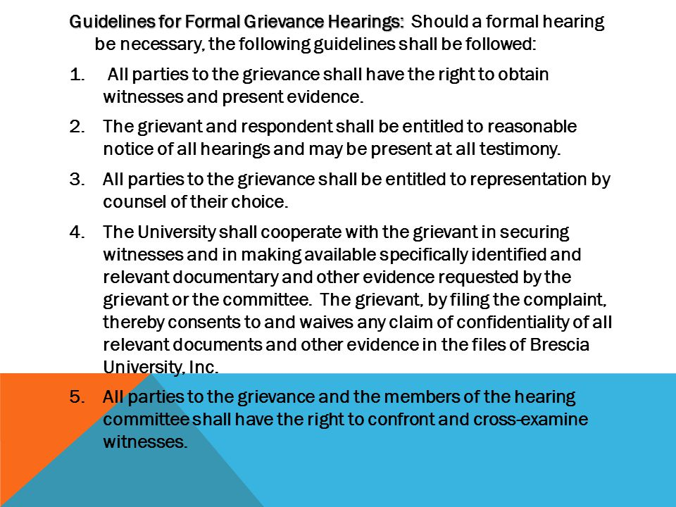 Faculty Procedure: The faculty member shall submit the written grievance to the Chair of the Executive Committee of the Faculty Assembly, who shall investigate the matter and hold an informal hearing as necessary with all parties concerned.