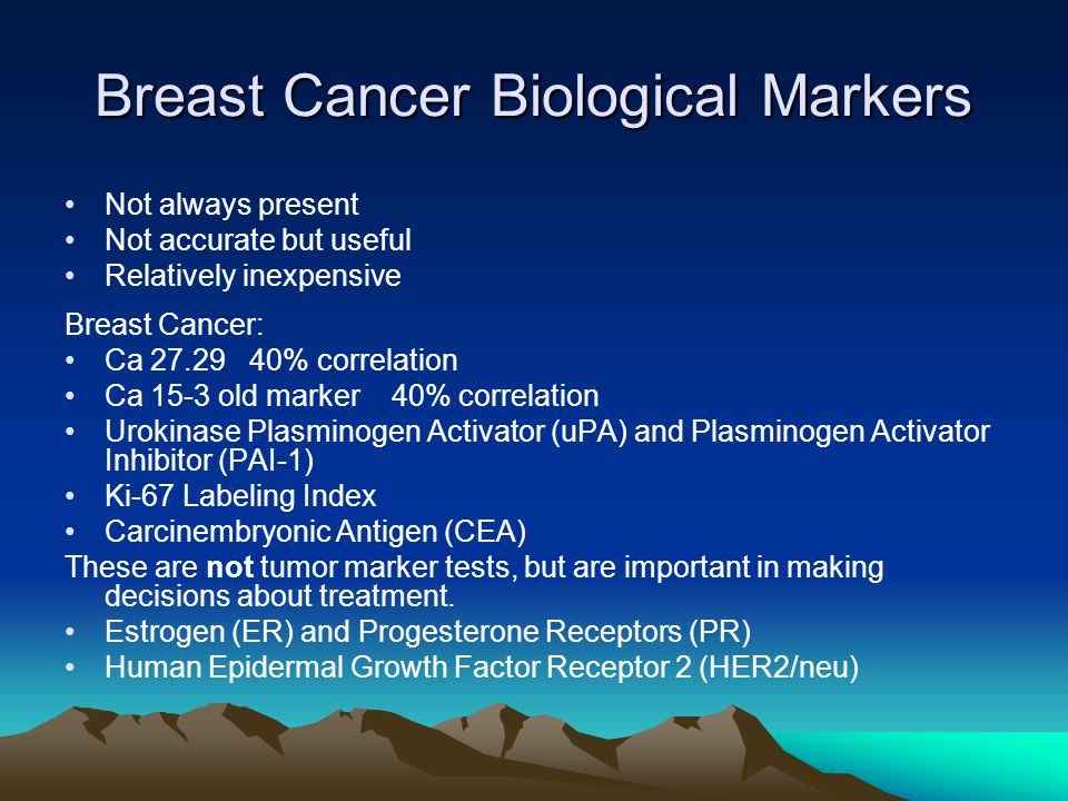 Breast Cancer Biological Markers Not always present Not accurate but useful Relatively inexpensive Breast Cancer: Ca 27.29 40% correlation Ca 15-3 old