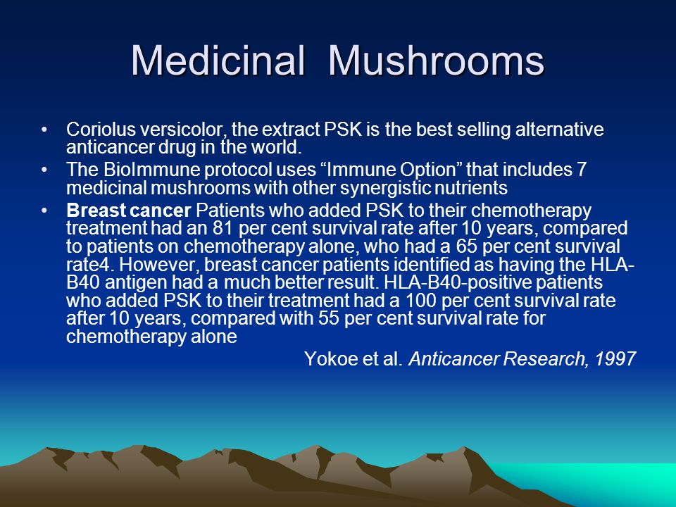 Medicinal Mushrooms Coriolus versicolor, the extract PSK is the best selling alternative anticancer drug in the world. The BioImmune protocol uses Imm