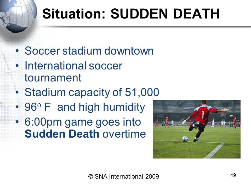 49 Situation: SUDDEN DEATH Soccer stadium downtown International soccer tournament Stadium capacity of 51,000 96 o F and high humidity 6:00pm game goes into Sudden Death overtime © SNA International 2009