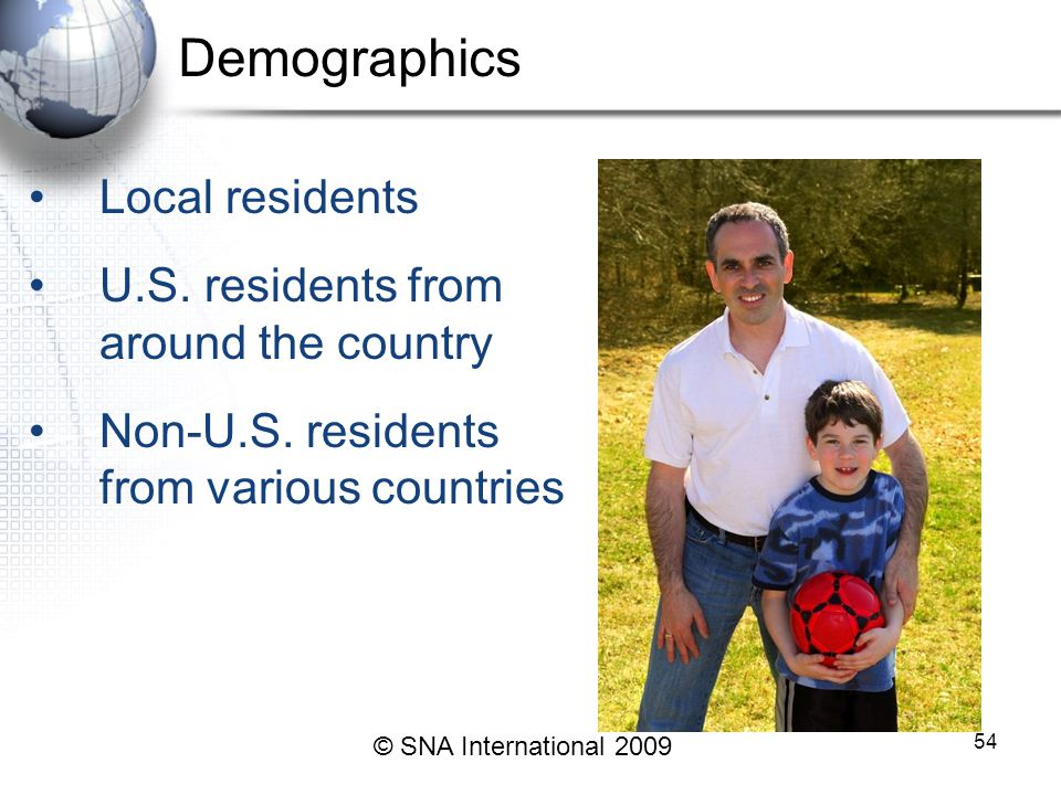Demographics Local residents U.S. residents from around the country Non-U.S.