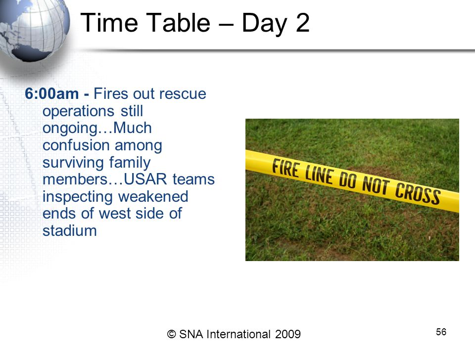 Time Table – Day 2 6:00am - Fires out rescue operations still ongoing…Much confusion among surviving family members…USAR teams inspecting weakened ends of west side of stadium 56 © SNA International 2009