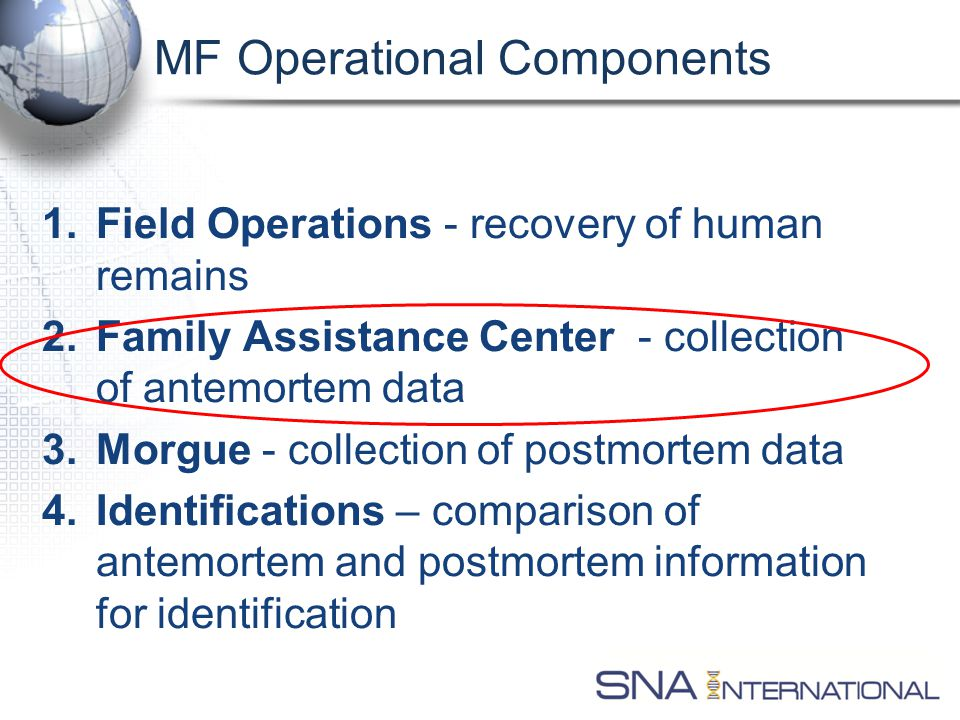 MF Operational Components 1.Field Operations - recovery of human remains 2.Family Assistance Center - collection of antemortem data 3.Morgue - collection of postmortem data 4.Identifications – comparison of antemortem and postmortem information for identification