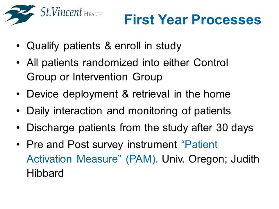 First Year Processes Qualify patients & enroll in study All patients randomized into either Control Group or Intervention Group Device deployment & retrieval in the home Daily interaction and monitoring of patients Discharge patients from the study after 30 days Pre and Post survey instrument Patient Activation Measure (PAM).