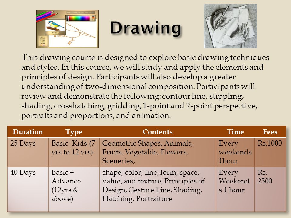 This drawing course is designed to explore basic drawing techniques and styles.