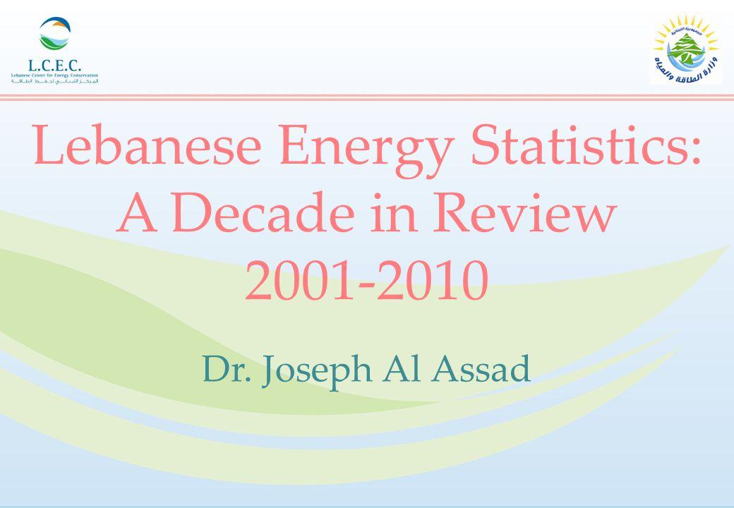 Lebanese Energy Statistics: A Decade in Review 2001-2010 Dr. Joseph Al Assad