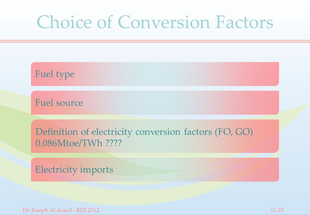 Choice of Conversion Factors Fuel type Fuel source Definition of electricity conversion factors (FO, GO) 0.086Mtoe/TWh .