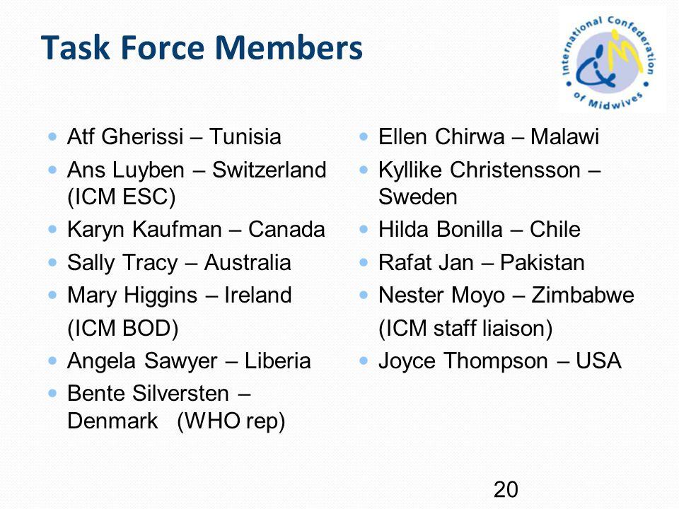 Task Force Members Atf Gherissi – Tunisia Ans Luyben – Switzerland (ICM ESC) Karyn Kaufman – Canada Sally Tracy – Australia Mary Higgins – Ireland (IC