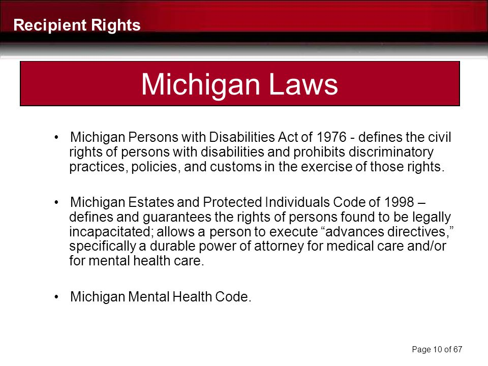 Federal Laws Americans with Disabilities Act (ADA) of 1990 – prohibits discrimination on the basis of disability and requires accommodations in employ