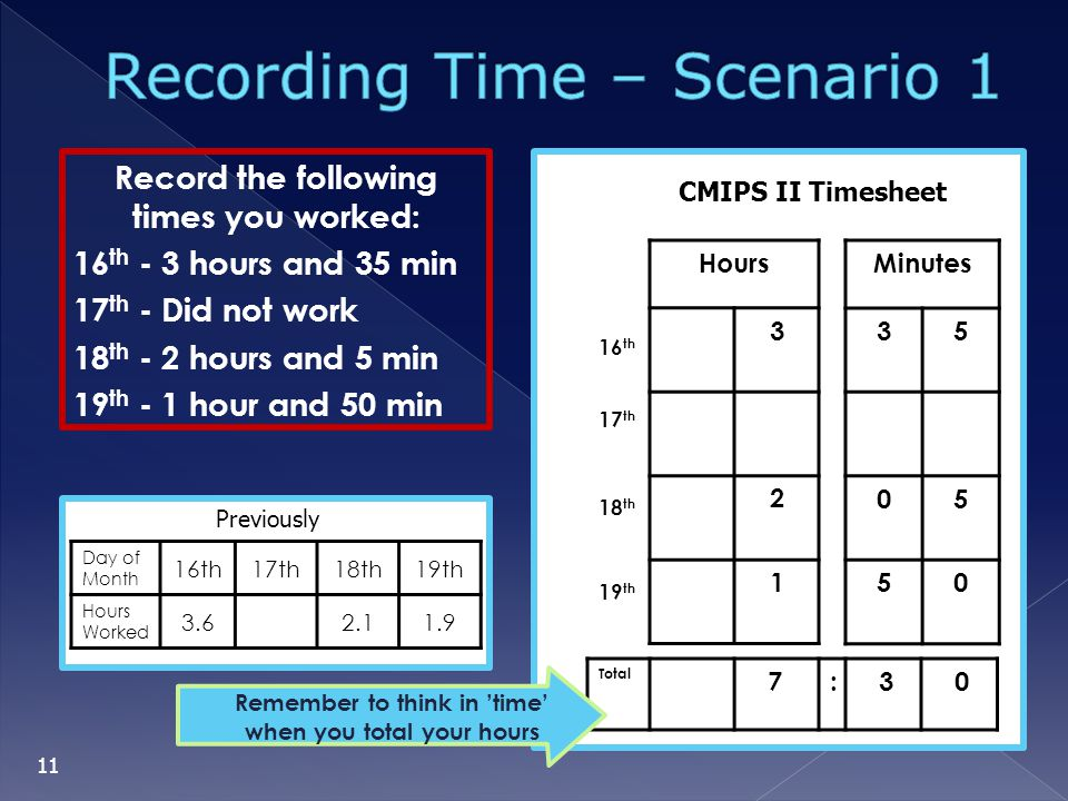 Record the following times you worked: 16 th - 3 hours and 35 min 17 th - Did not work 18 th - 2 hours and 5 min 19 th - 1 hour and 50 min 16 th 17 th