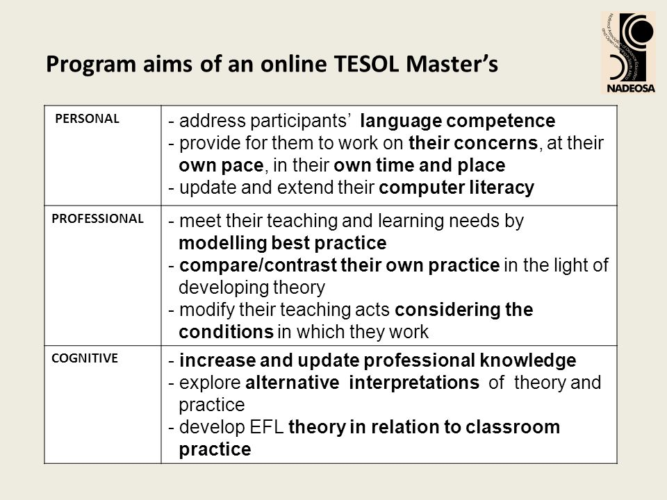 Program aims of an online TESOL Masters PERSONAL - address participants language competence - provide for them to work on their concerns, at their own