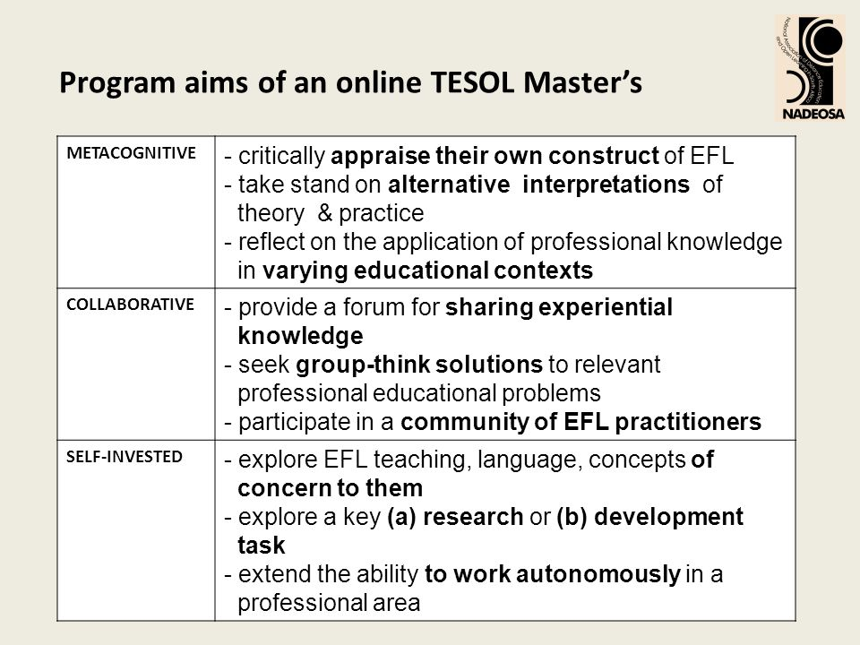 Program aims of an online TESOL Masters METACOGNITIVE - critically appraise their own construct of EFL - take stand on alternative interpretations of theory & practice - reflect on the application of professional knowledge in varying educational contexts COLLABORATIVE - provide a forum for sharing experiential knowledge - seek group-think solutions to relevant professional educational problems - participate in a community of EFL practitioners SELF-INVESTED - explore EFL teaching, language, concepts of concern to them - explore a key (a) research or (b) development task - extend the ability to work autonomously in a professional area