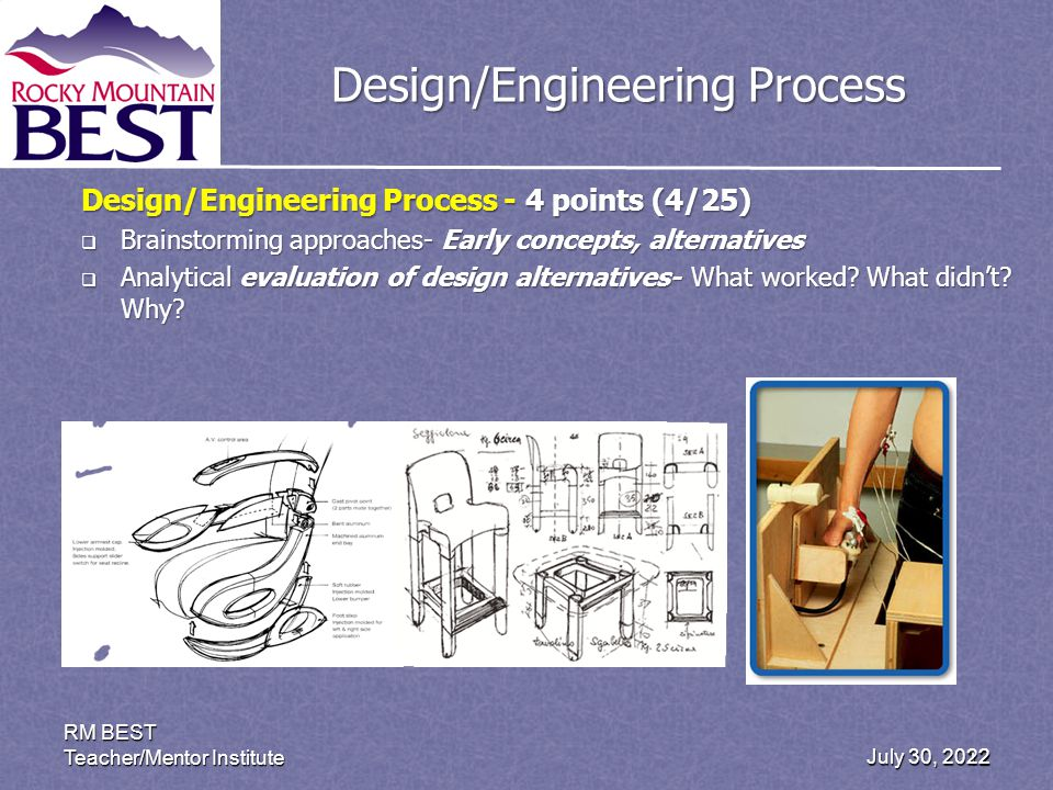 July 30, 2012 RM BEST Teacher/Mentor Institute 22 Design/Engineering Process Design/Engineering Process - 4 points (4/25) Brainstorming approaches- Early concepts, alternatives Brainstorming approaches- Early concepts, alternatives Analytical evaluation of design alternatives- What worked.