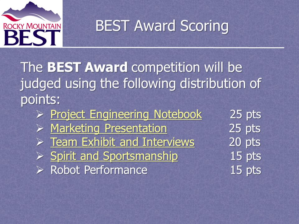 BEST Award Scoring The BEST Award competition will be judged using the following distribution of points: Project Engineering Notebook25 pts Project Engineering Notebook25 pts Project Engineering Notebook Project Engineering Notebook Marketing Presentation 25 pts Marketing Presentation 25 pts Marketing Presentation Marketing Presentation Team Exhibit and Interviews 20 pts Team Exhibit and Interviews 20 pts Team Exhibit and Interviews Team Exhibit and Interviews Spirit and Sportsmanship15 pts Spirit and Sportsmanship15 pts Spirit and Sportsmanship Spirit and Sportsmanship Robot Performance 15 pts Robot Performance 15 pts