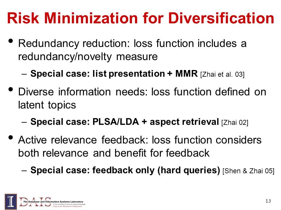 Risk Minimization for Diversification Redundancy reduction: loss function includes a redundancy/novelty measure –Special case: list presentation + MMR