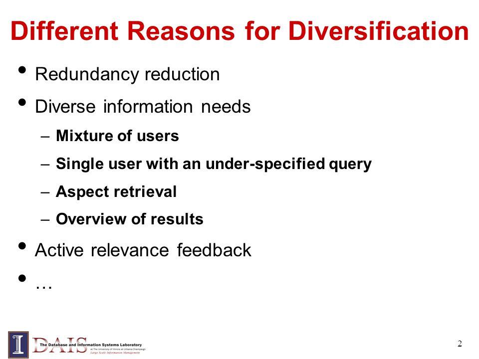 Risk Minimization for Diversification Redundancy reduction: loss function includes a redundancy/novelty measure –Special case: list presentation + MMR [Zhai et al.