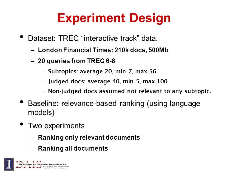 Experiment Design Dataset: TREC interactive track data. –London Financial Times: 210k docs, 500Mb –20 queries from TREC 6-8 Subtopics: average 20, min