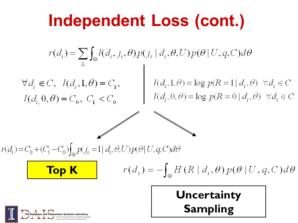Independent Loss (cont.) Uncertainty Sampling Top K