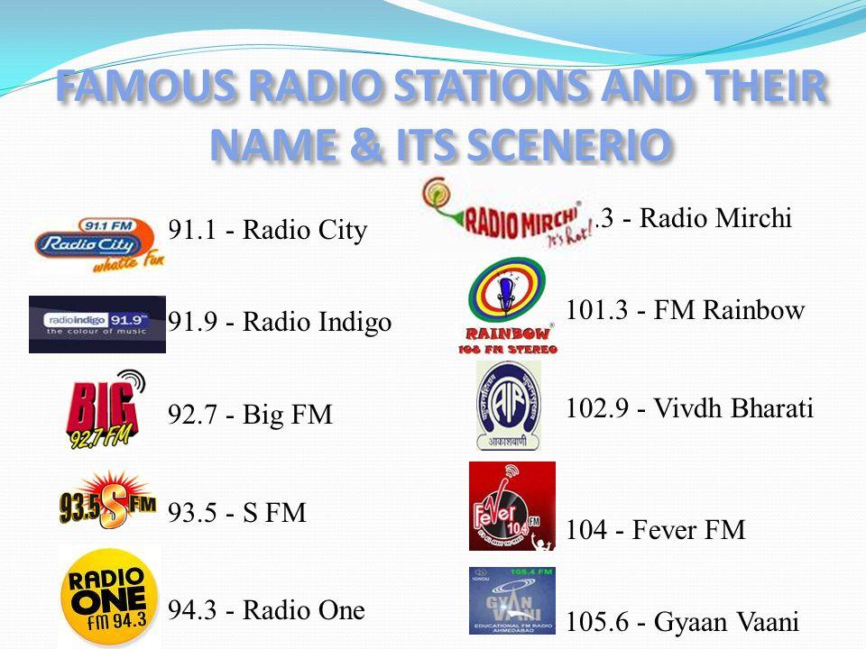 91.1 - Radio City 91.9 - Radio Indigo 92.7 - Big FM 93.5 - S FM 94.3 - Radio One 98.3 - Radio Mirchi 101.3 - FM Rainbow 102.9 - Vivdh Bharati 104 - Fever FM 105.6 - Gyaan Vaani