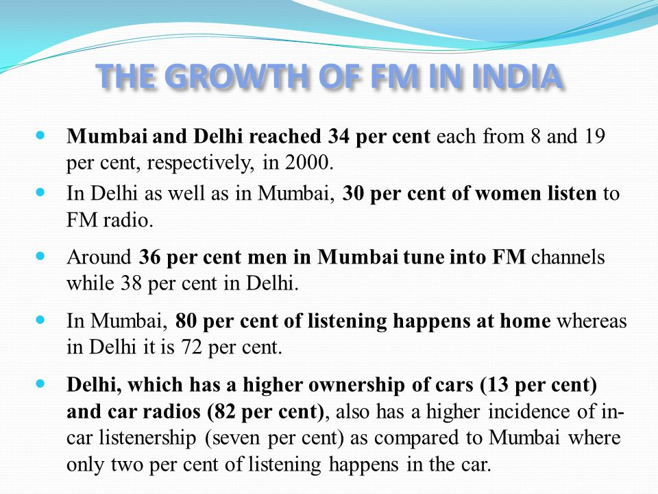 Mumbai and Delhi reached 34 per cent each from 8 and 19 per cent, respectively, in 2000. In Delhi as well as in Mumbai, 30 per cent of women listen to