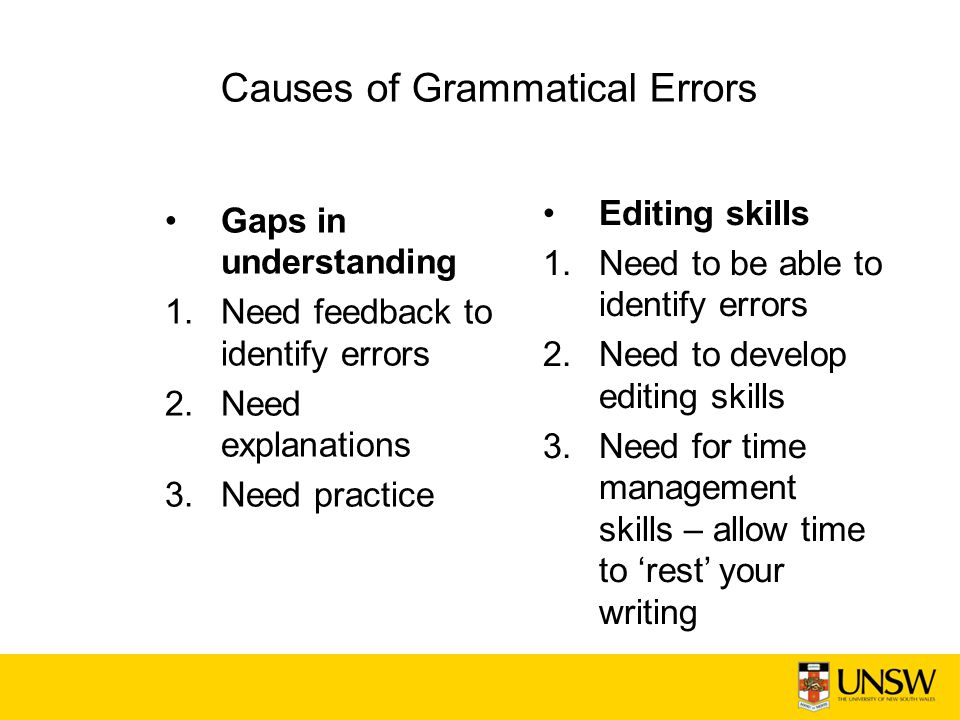 Causes of Grammatical Errors Gaps in understanding 1.Need feedback to identify errors 2.Need explanations 3.Need practice Editing skills 1.Need to be