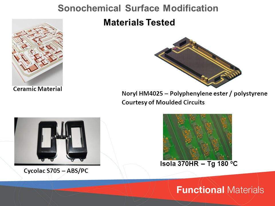Click to edit Master title style Sonochemical Surface Modification Isola 370HR – Tg 180 ºC Materials Tested Cycolac S705 – ABS/PC Noryl HM4025 – Polyphenylene ester / polystyrene Courtesy of Moulded Circuits Ceramic Material