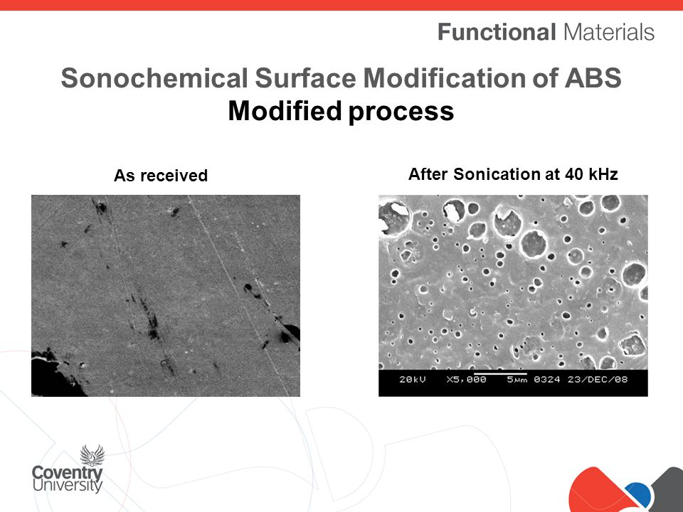 Click to edit Master title style Sonochemical Surface Modification of ABS Modified process As received After Sonication at 40 kHz