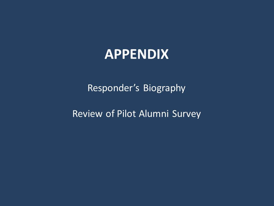 APPENDIX Responders Biography Review of Pilot Alumni Survey