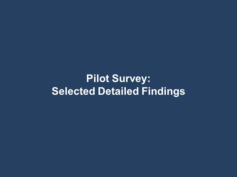 Pilot Survey: Selected Detailed Findings