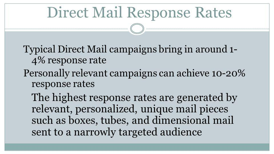 Statistics Prove Effectiveness 50% of consumers prefer direct mail to email 60% enjoy checking their mail 98% bring in their mail the day it is delivered 77% sort through their mail immediately 3.4% was the average response rate for letter size mail in 2010 75% say they receive more email than they can read Email response rates are down 57% since 2004 The 18-34 preference is 2-3x higher for health products information via direct mail than online sources such as social media