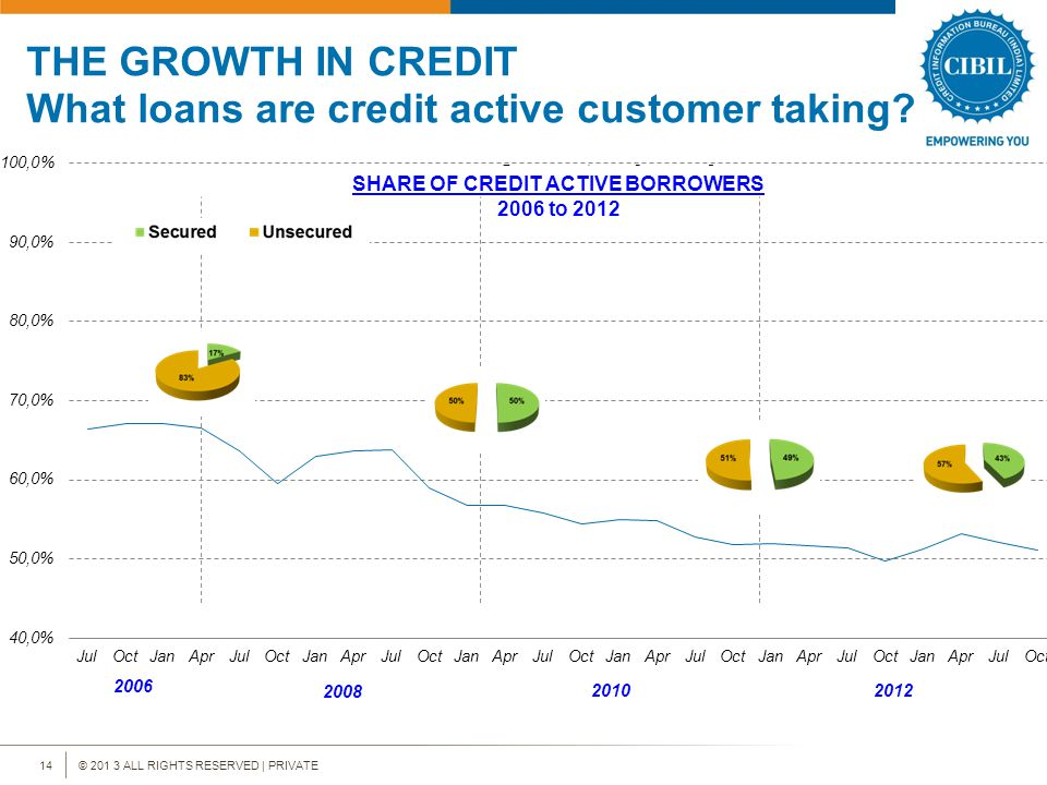 © 201 3 ALL RIGHTS RESERVED | PRIVATE14 THE GROWTH IN CREDIT What loans are credit active customer taking.