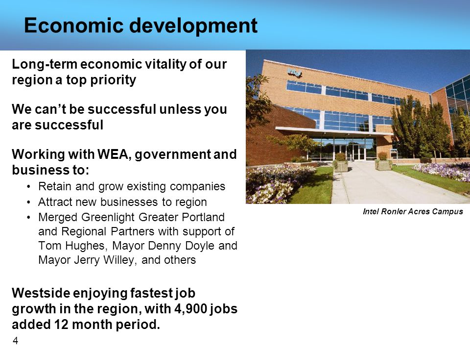 4 Economic development Long-term economic vitality of our region a top priority We cant be successful unless you are successful Working with WEA, government and business to: Retain and grow existing companies Attract new businesses to region Merged Greenlight Greater Portland and Regional Partners with support of Tom Hughes, Mayor Denny Doyle and Mayor Jerry Willey, and others Westside enjoying fastest job growth in the region, with 4,900 jobs added 12 month period.