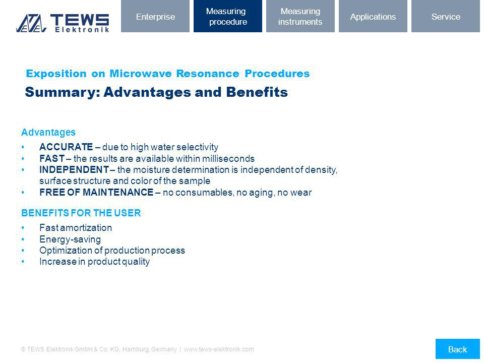 © TEWS Elektronik GmbH & Co. KG, Hamburg, Germany | www.tews-elektronik.com Exposition on Microwave Resonance Procedures Summary: Advantages and Benef